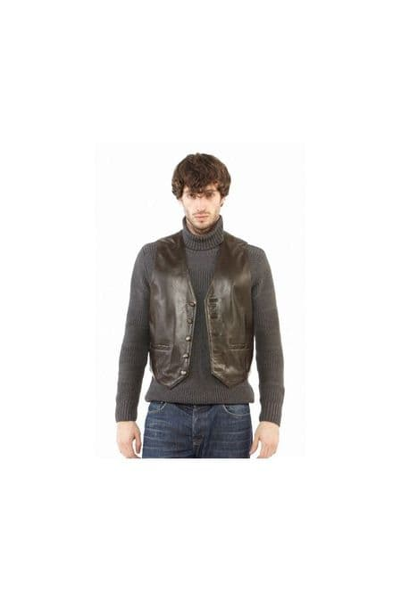 Men Leather Waistcoats in Brown